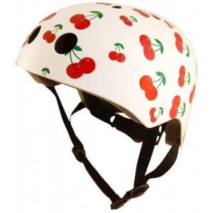 Шлем защитный Kiddimoto белый с вишенками