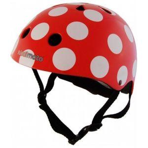 Шлем защитный Kiddimoto красный в белый горошек