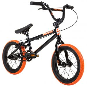 "Велосипед Stolen Agent 14"" 2021 BMX Freestyle Bike (black-dark neon orange tires)"