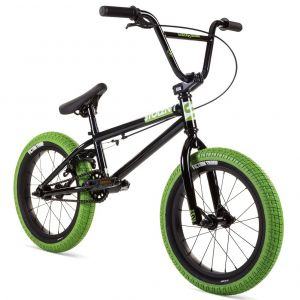 "Велосипед Stolen Agent 16"" 2021 BMX Freestyle Bike (black-neon green tires)"